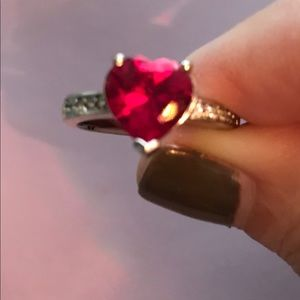 Beautiful Ruby with Diamonds in 10k Gold